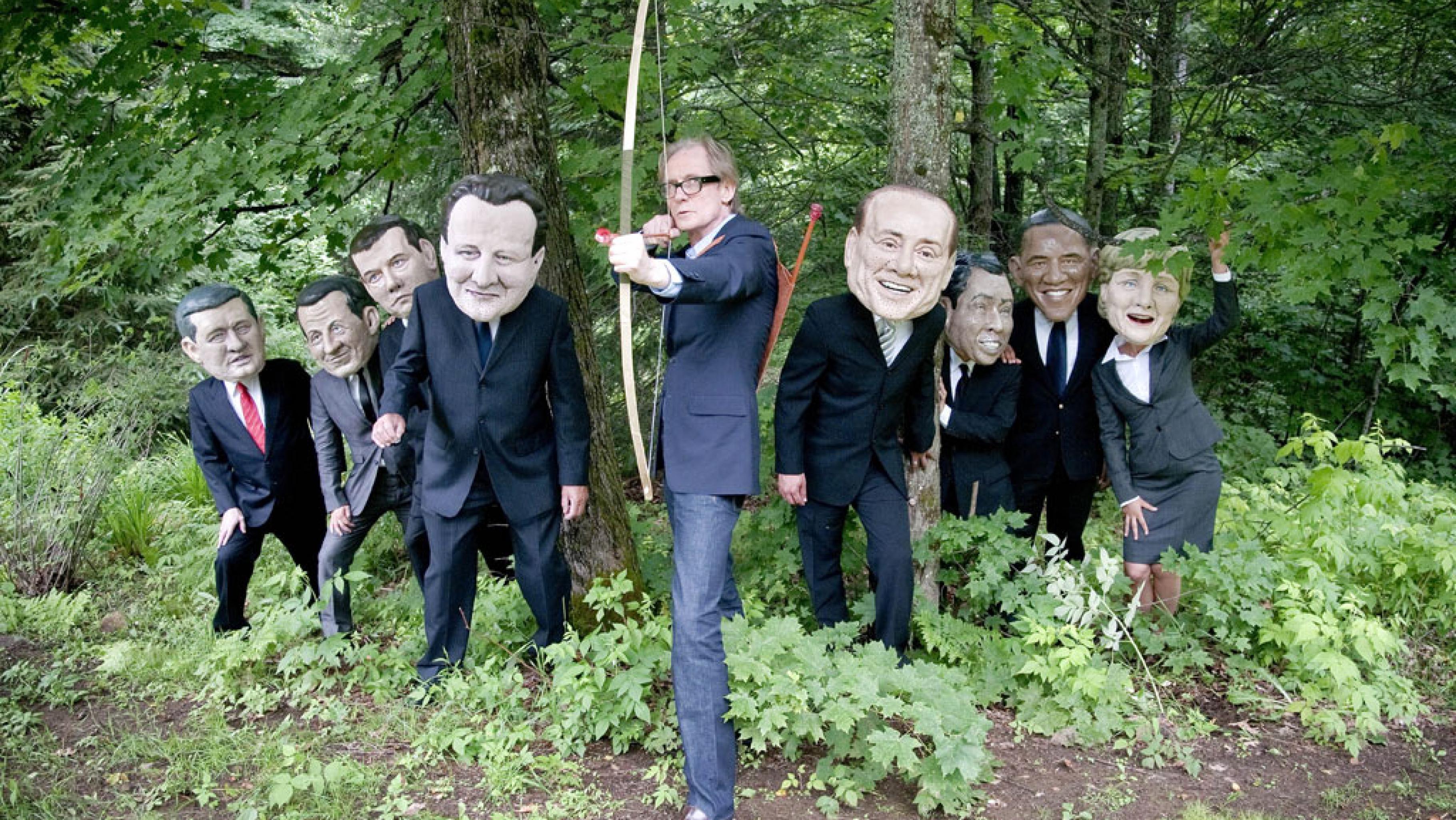 Foto: Oxfam-Stunt zum G8 in Huntsville, Kanada, Bill Nighy und die Big-Heads