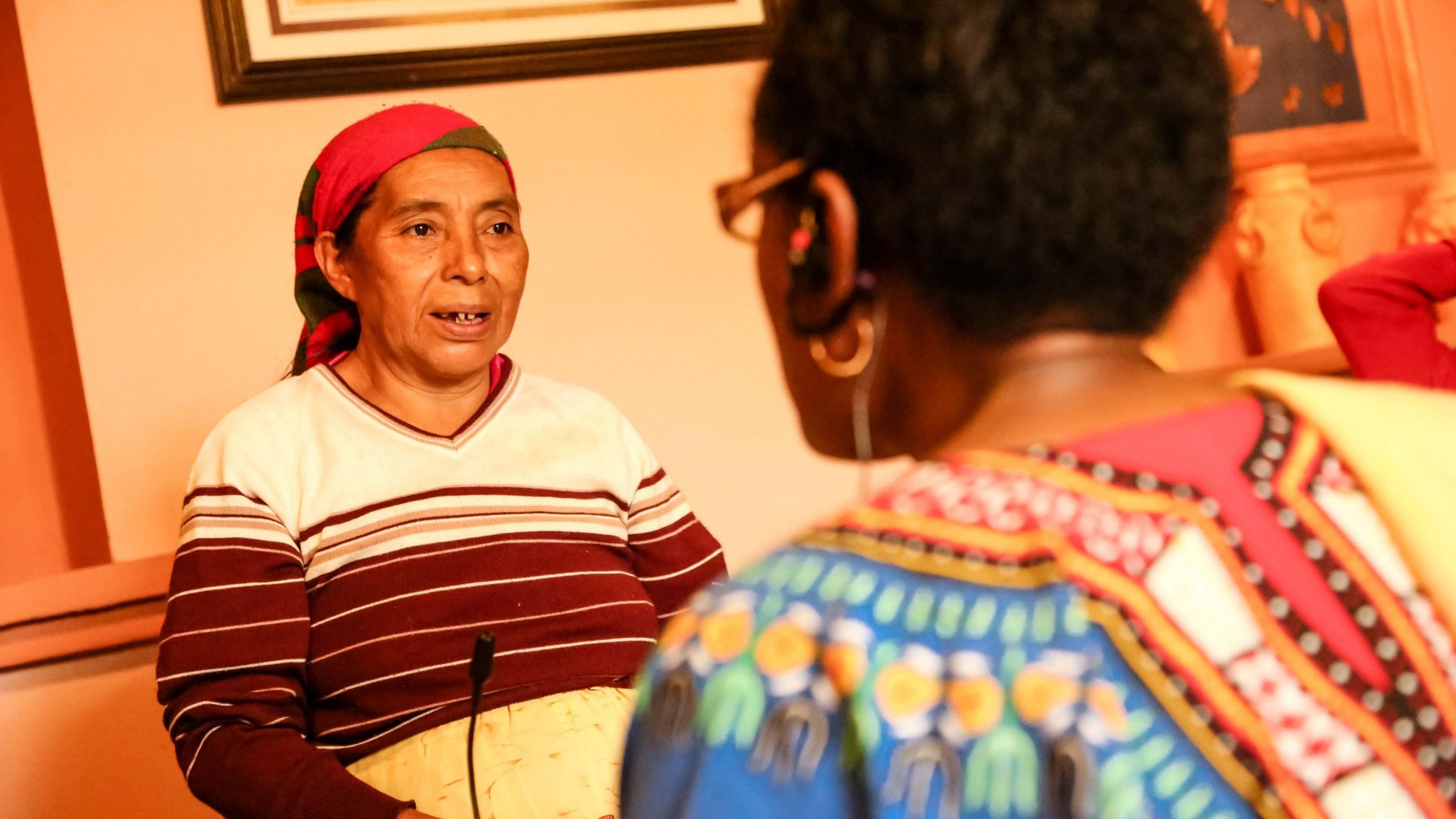 Eine Frau spricht mit Winnie Byanyima.