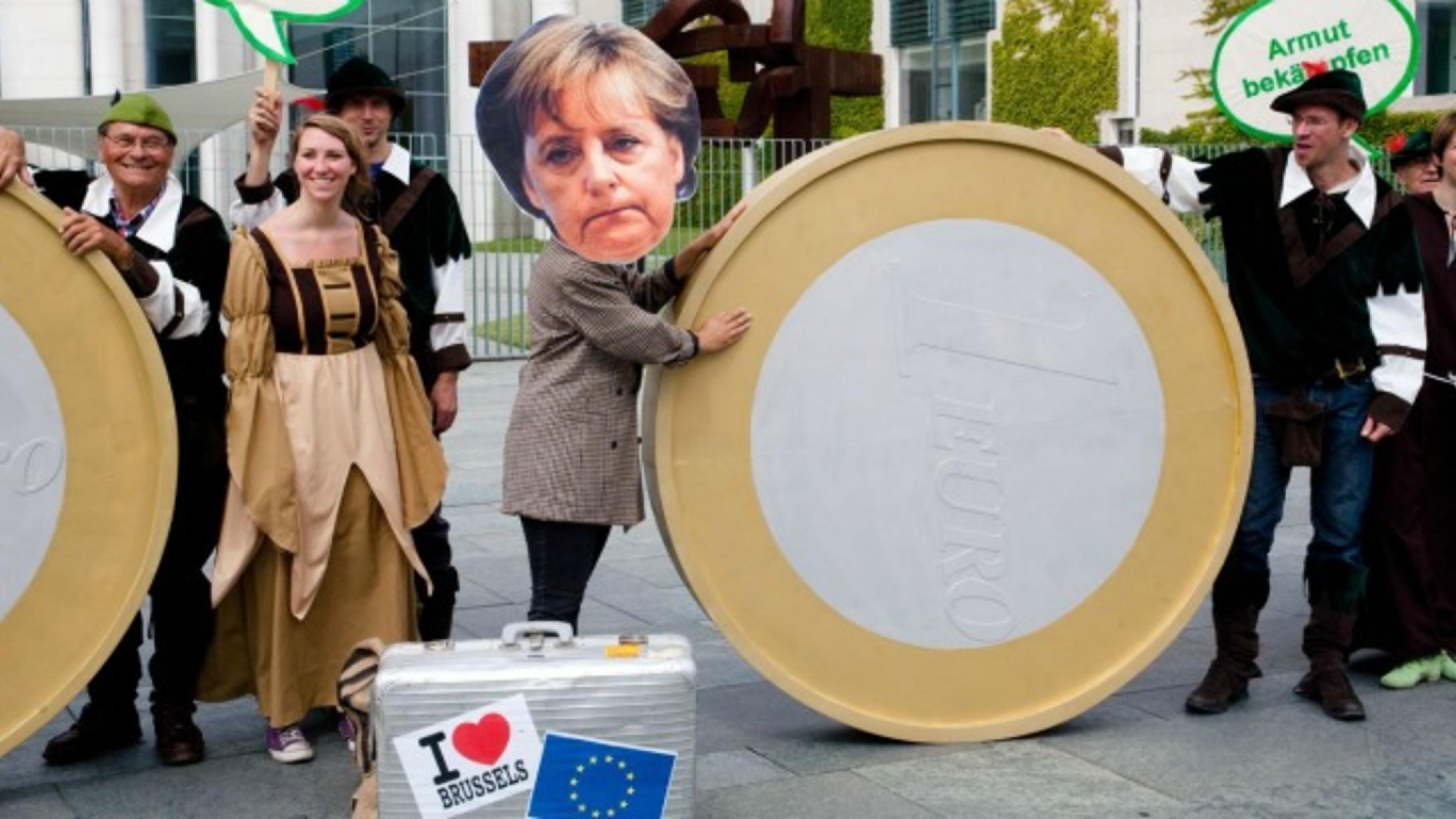 Robin Hood redet Angela Merkel vor dem EU-Ratstreffen ins Gewissen.