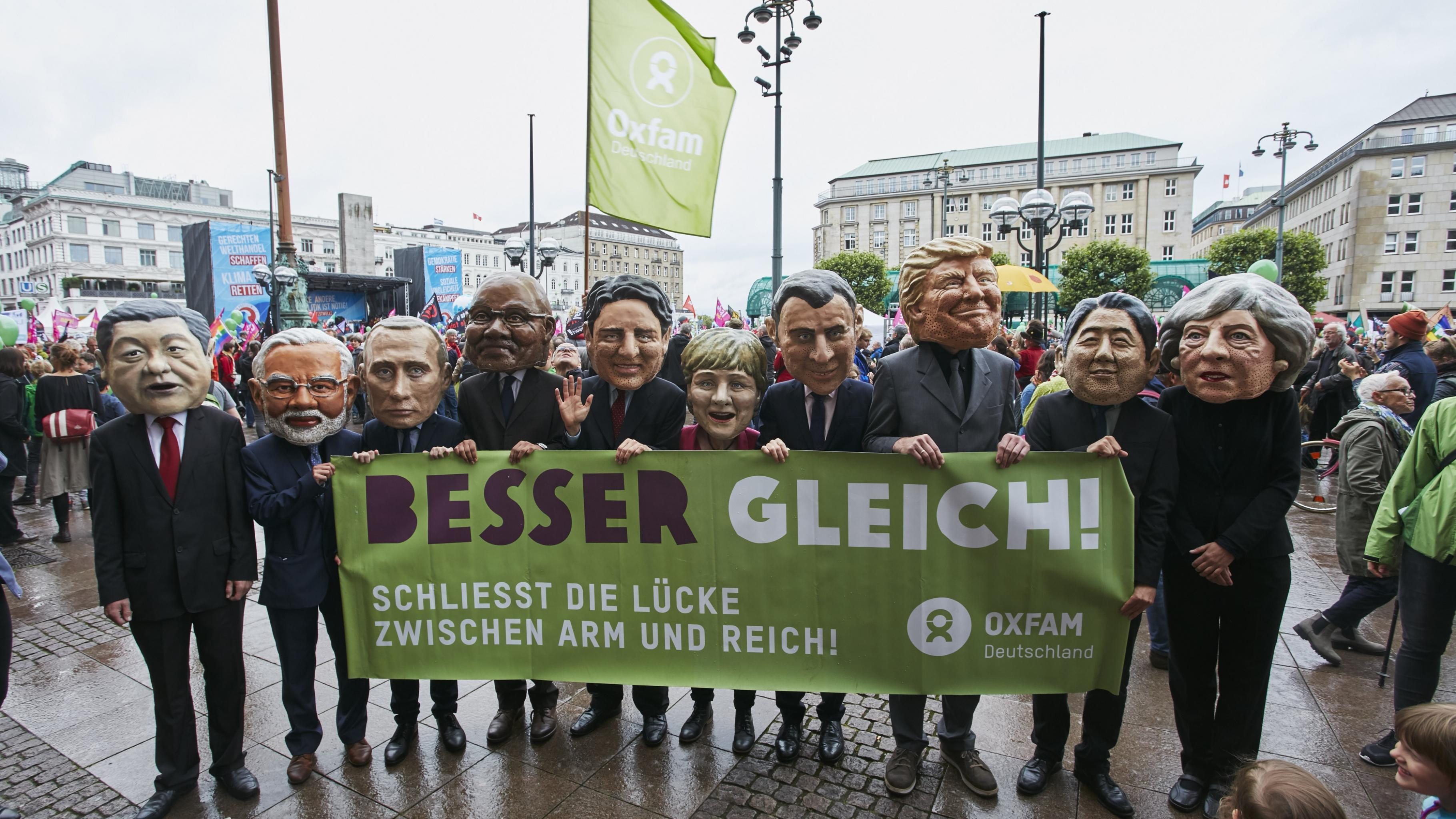 G20 Protestwelle Big Heads