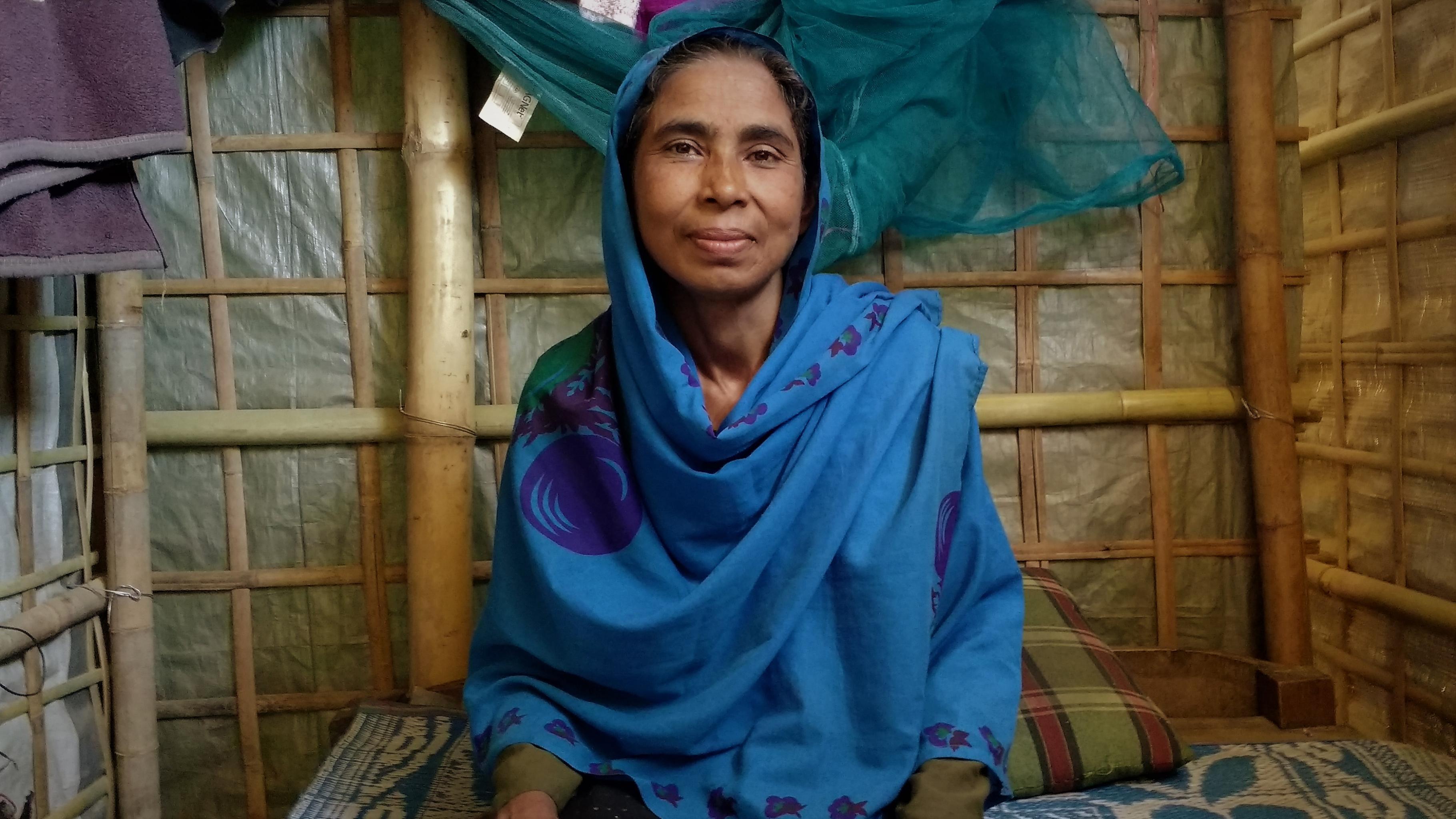 Rajiah in ihrem Haus in Cox's Bazar, Bangladesch.