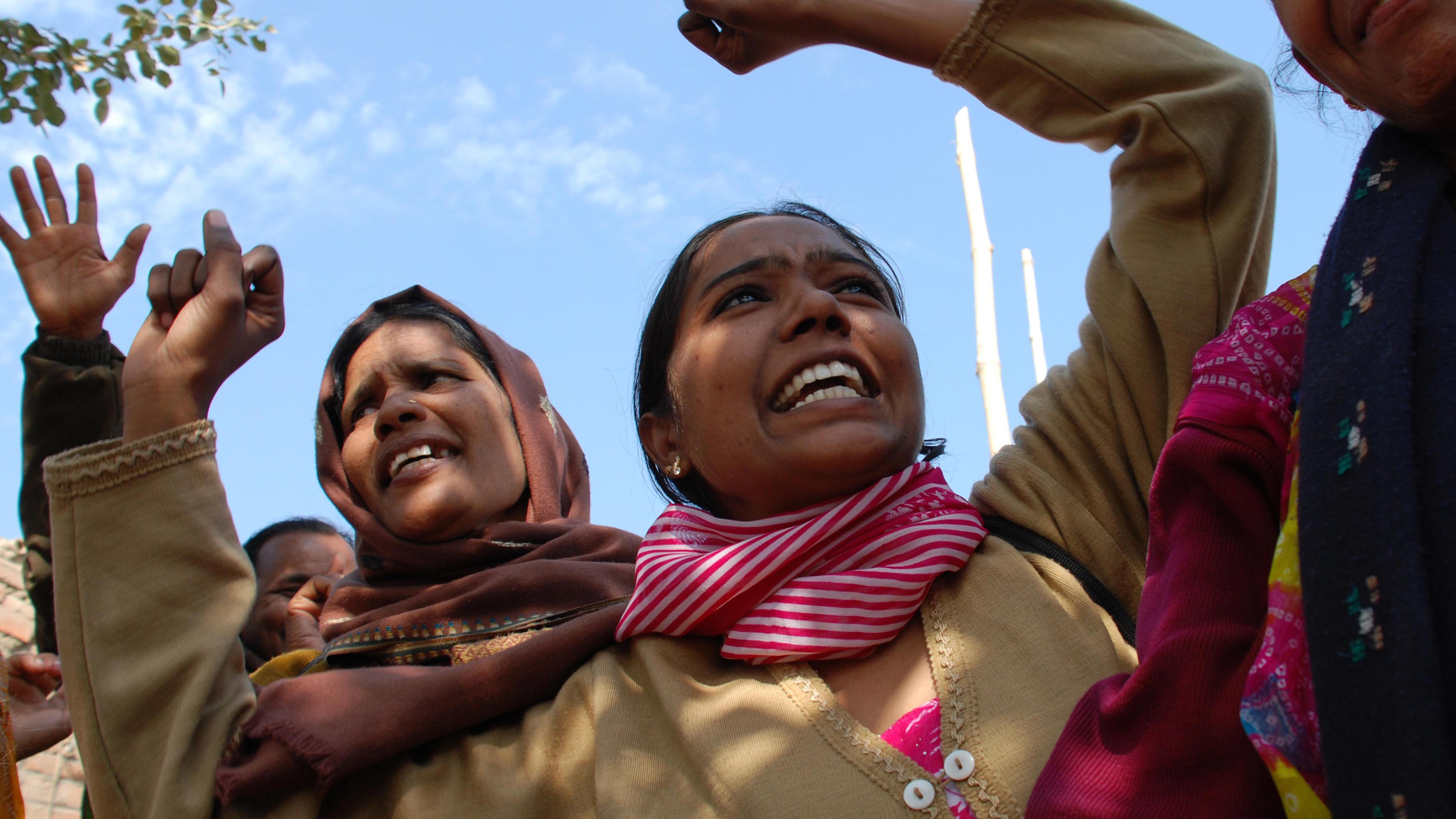 Frauen kämpfen um die Anerkennung ihrer Arbeit in Biona Ranja, Indien.