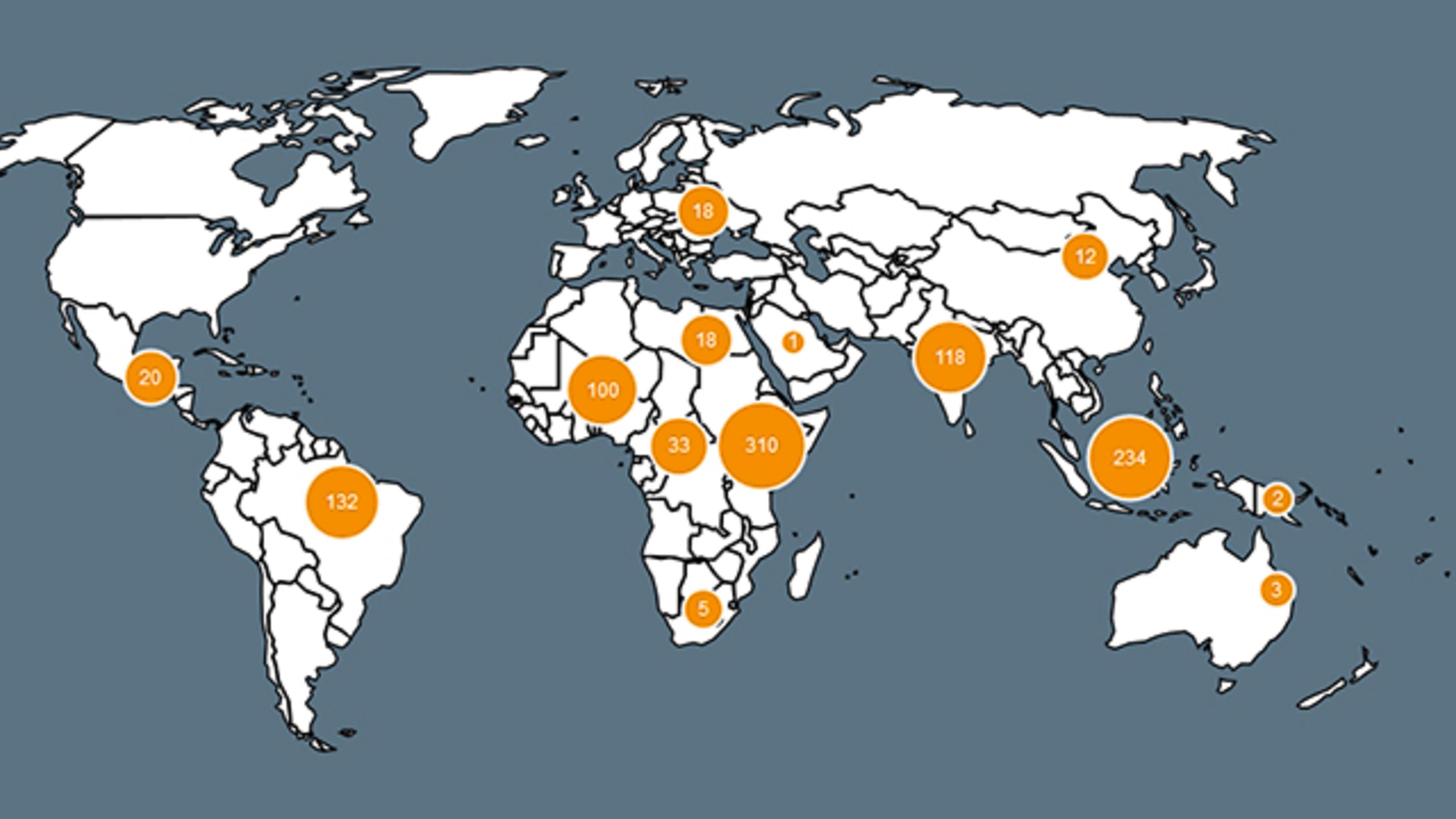 Weltkarte auf der Land Matrix