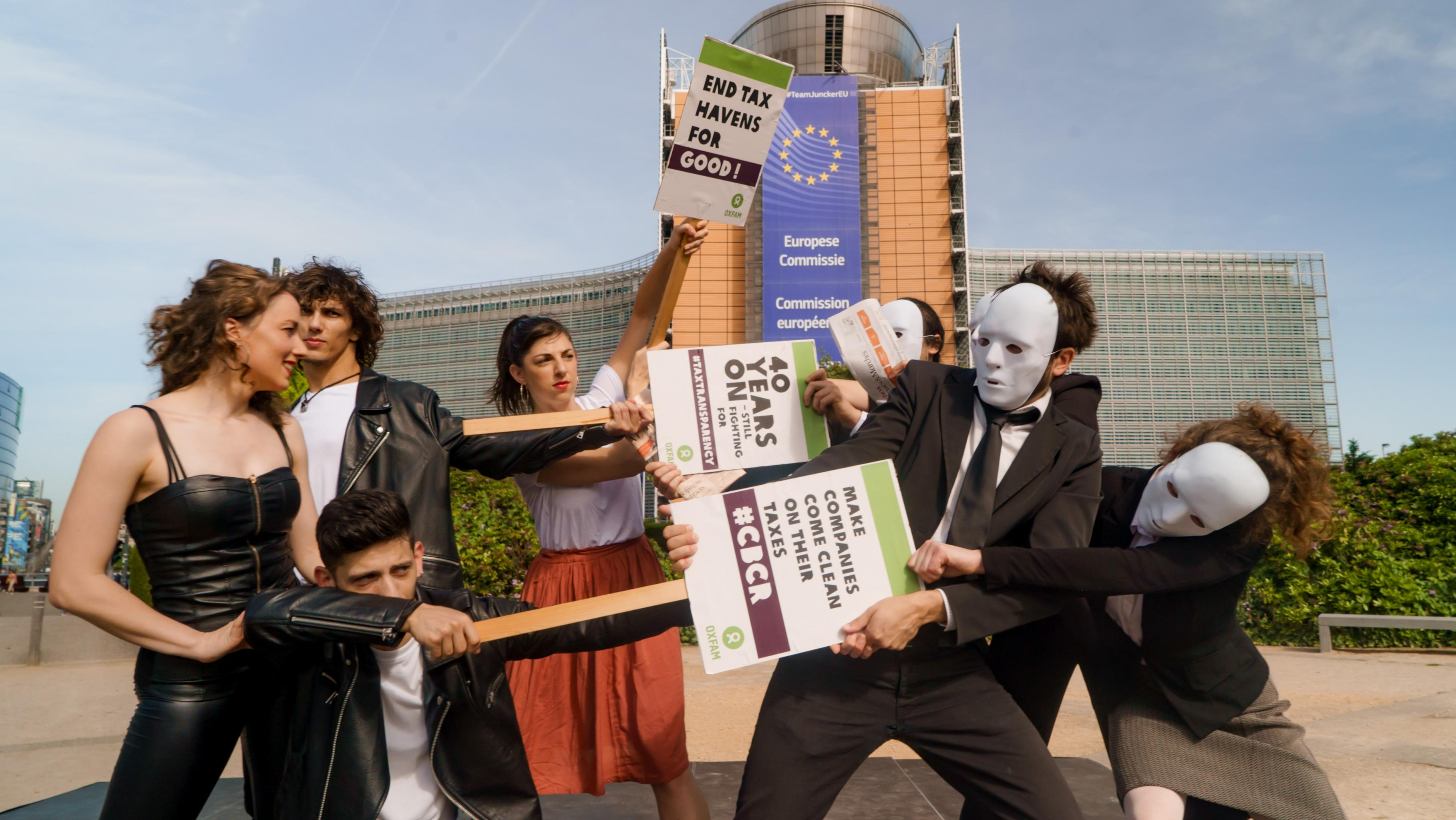 "Das Musical ""Grease"" lieferte den Soundtrack zur Aktion in Brüssel."