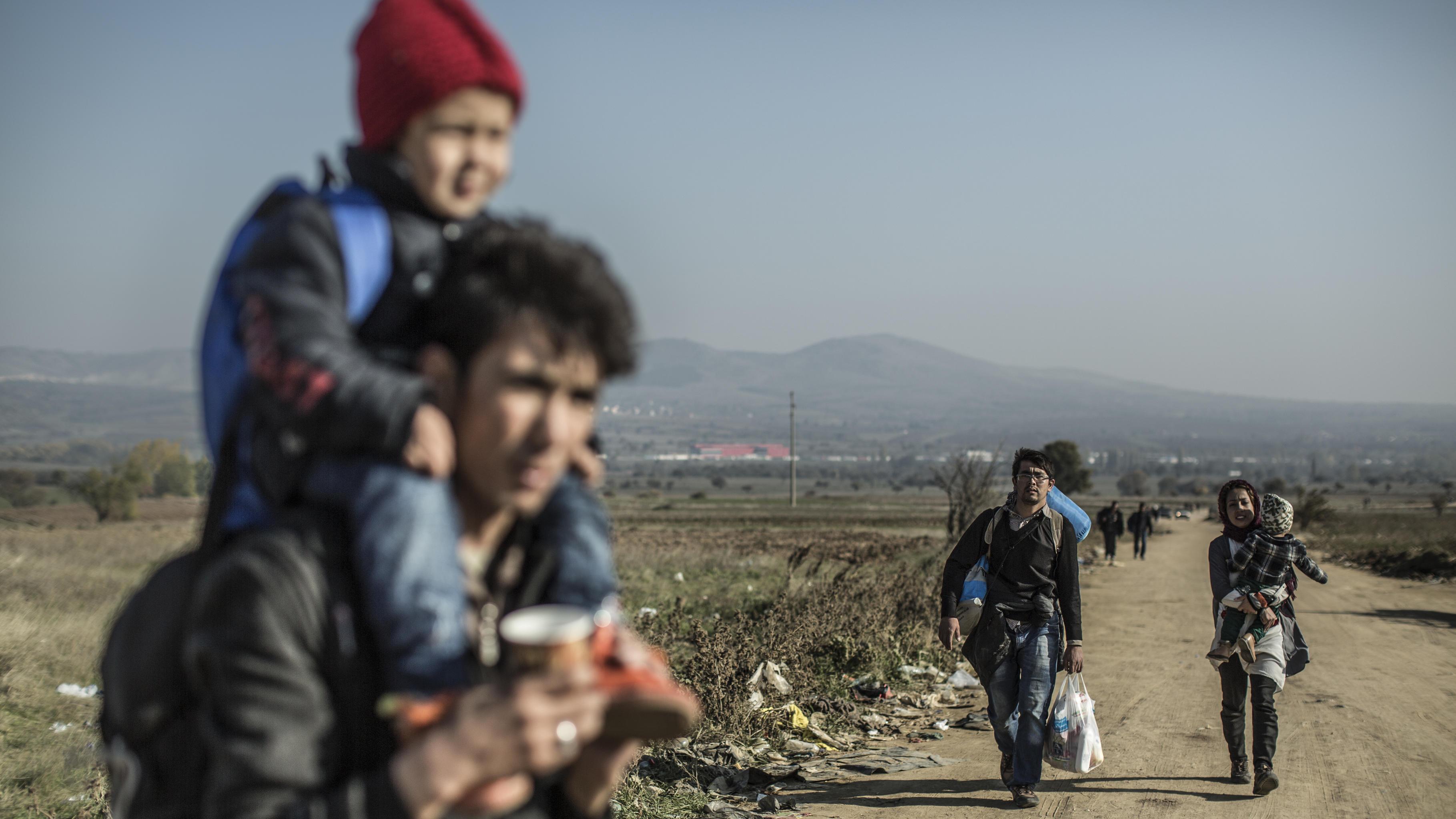 Flüchtlinge erreichen die serbische Grenze