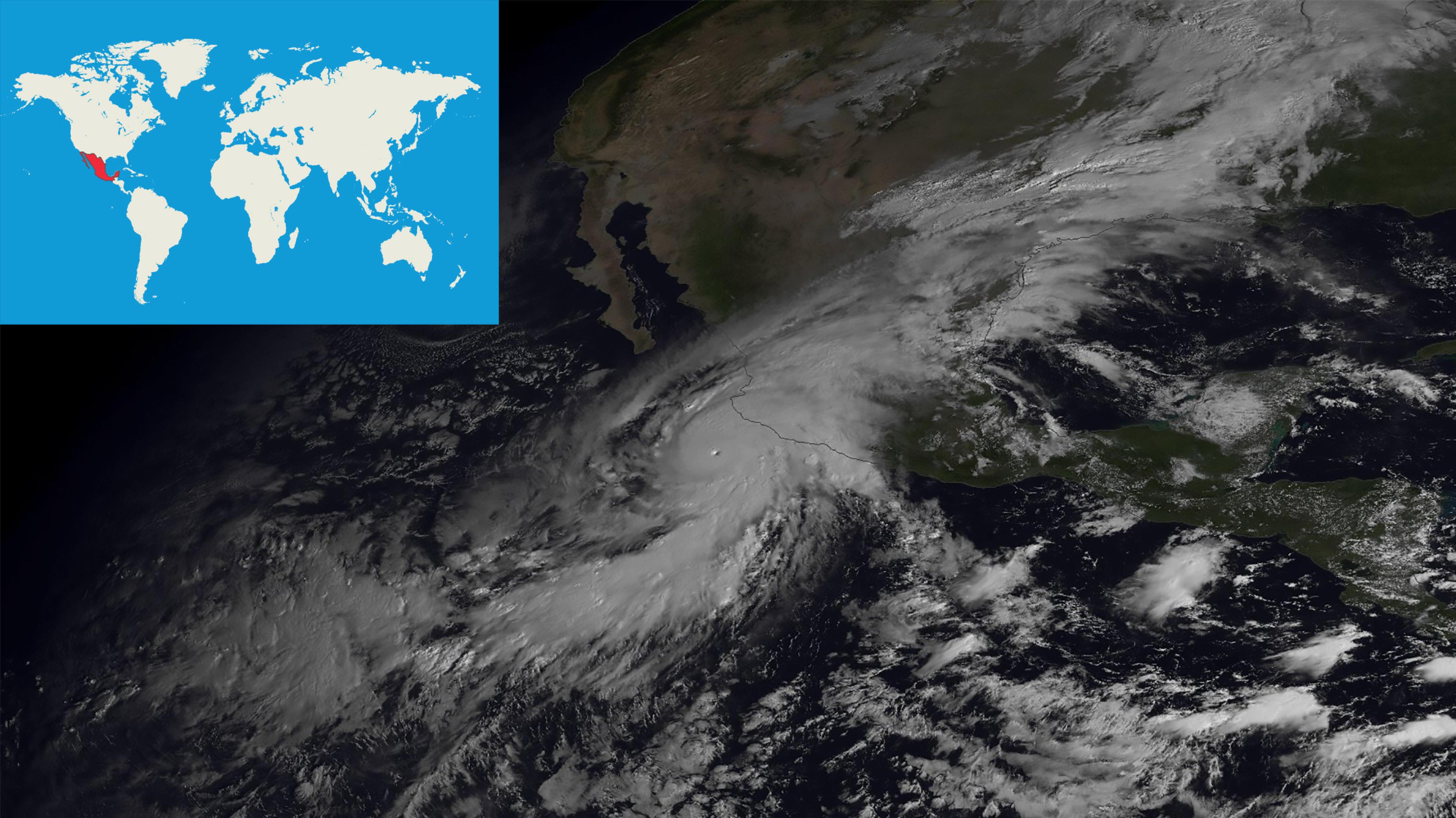 Satellitenbild eines Hurrikans über dem östlichen Pazifik