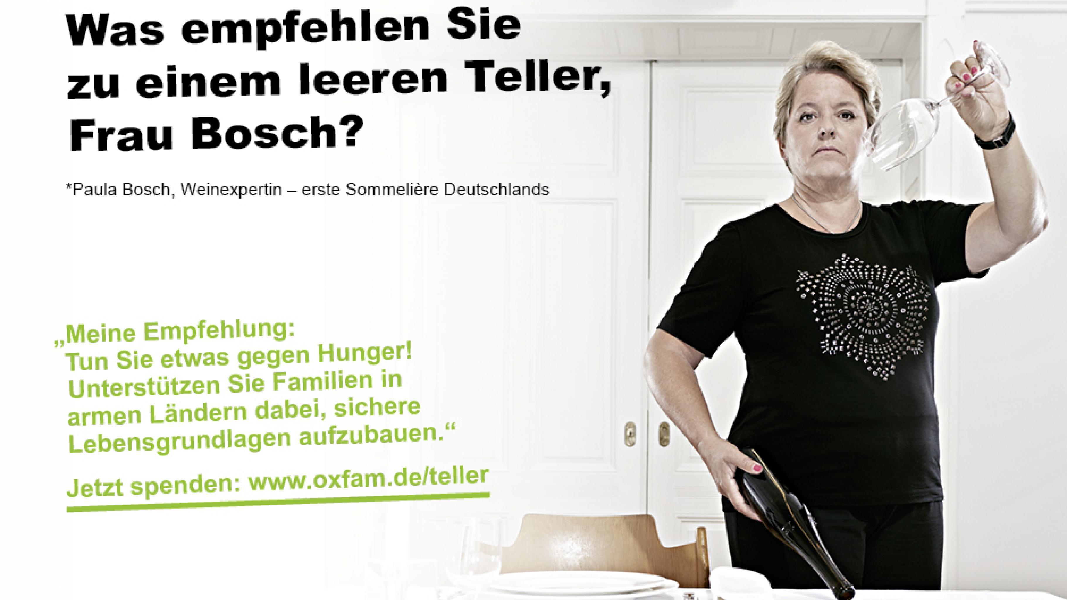 Oxfam leerer Teller Kampagne