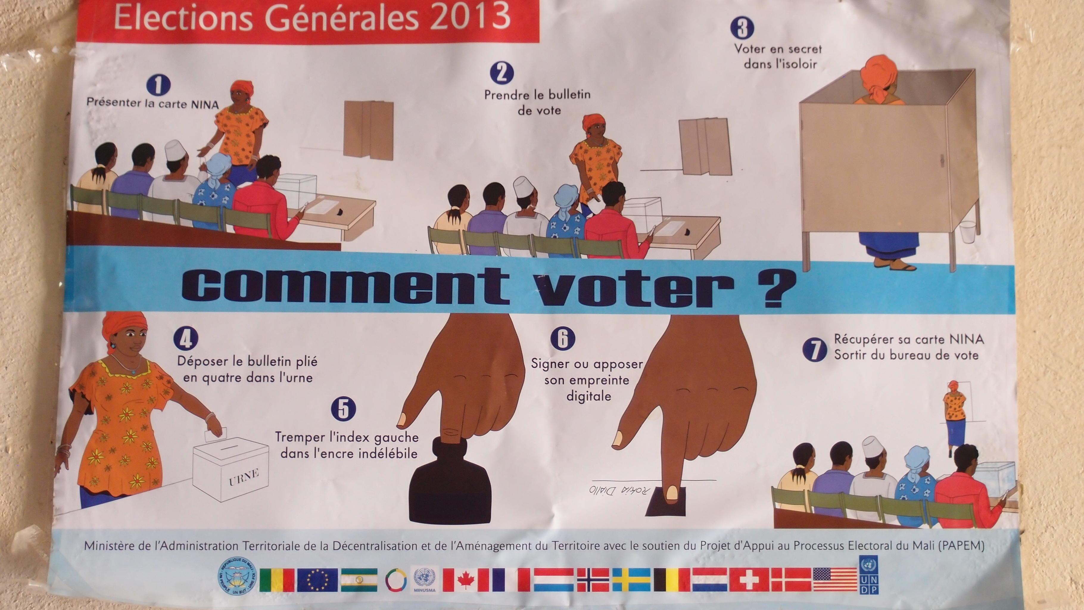 Plakate erklären auch Analphabet/innen den Wahlablauf © OXFAM