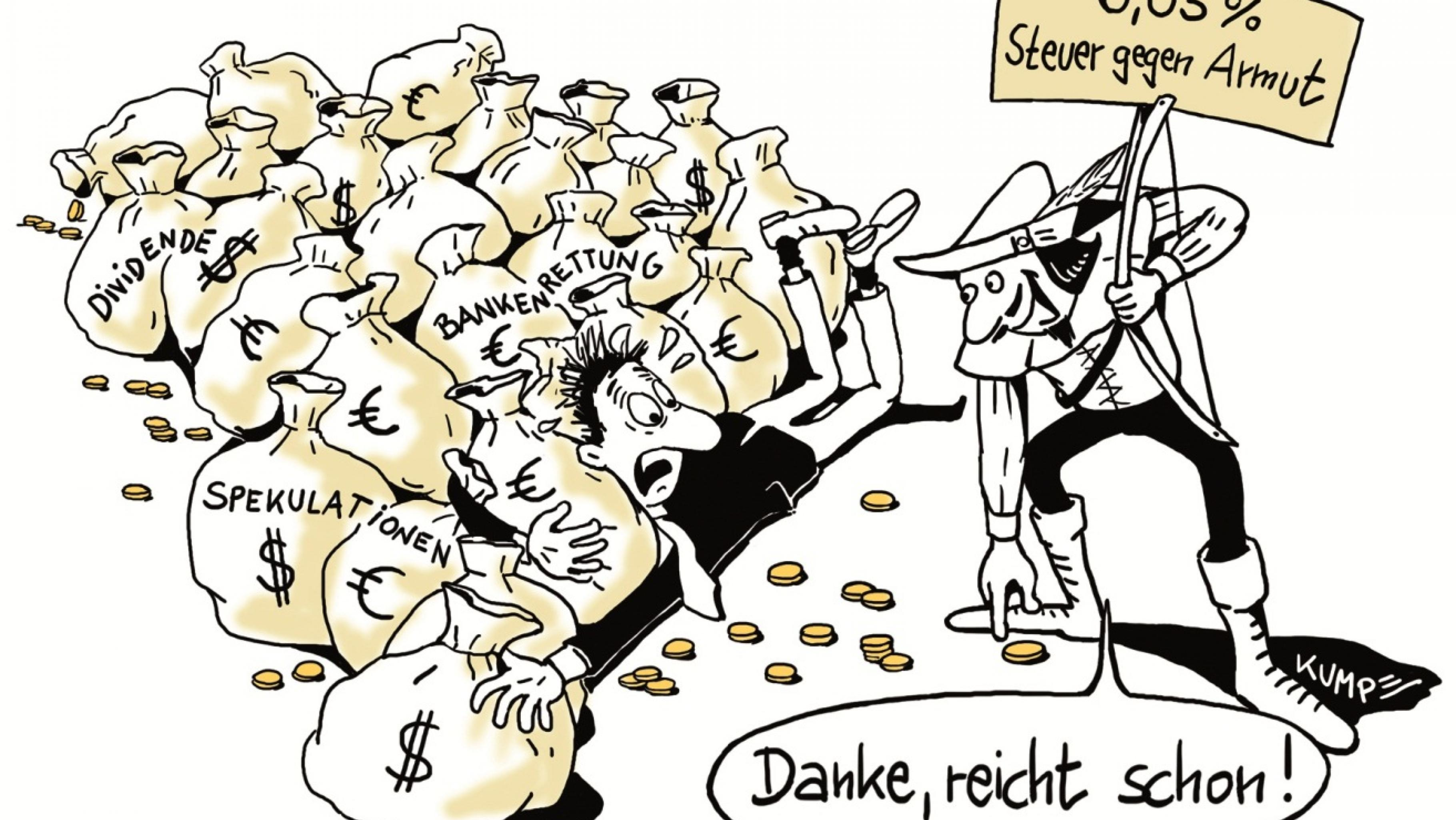 Robin Hood kämpft für die Steuer gegen Armut