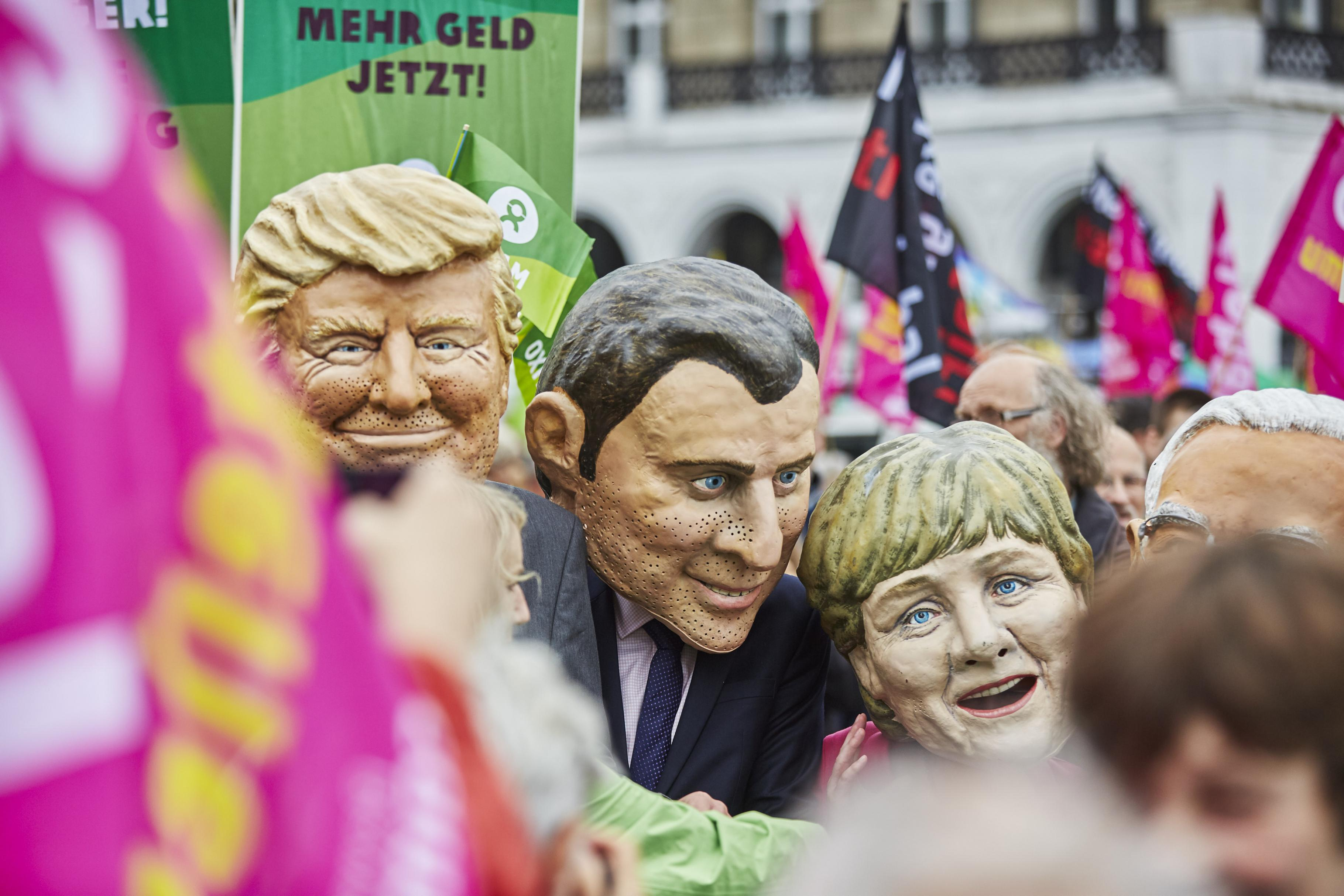 G20 Big Heads Protestwelle G20