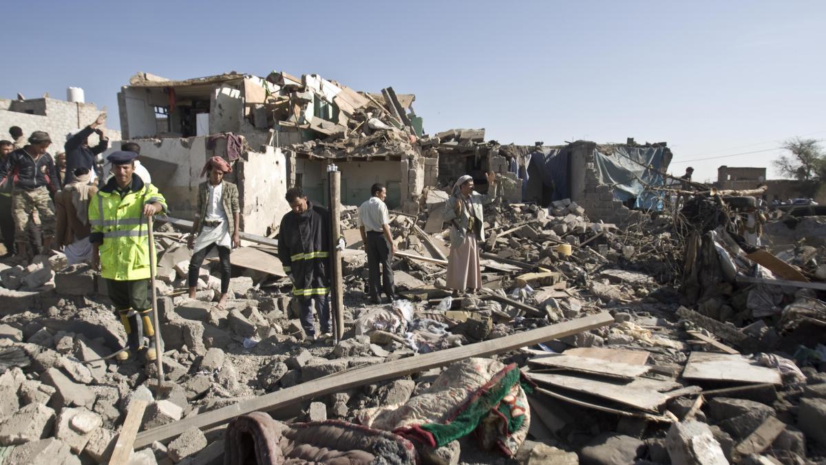 von einem Luftangriff zerstörte Häuser