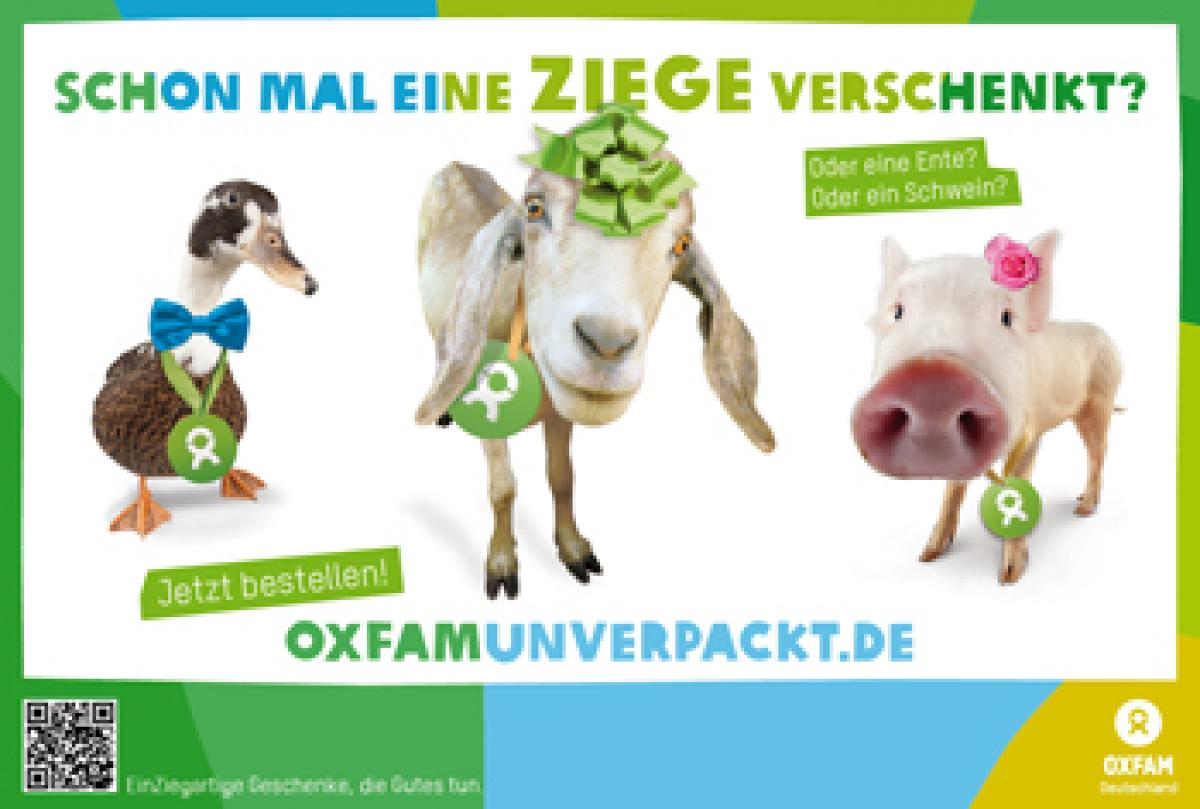 Oxfam Unverpackt Freianzeigen-Motiv Drei tiere
