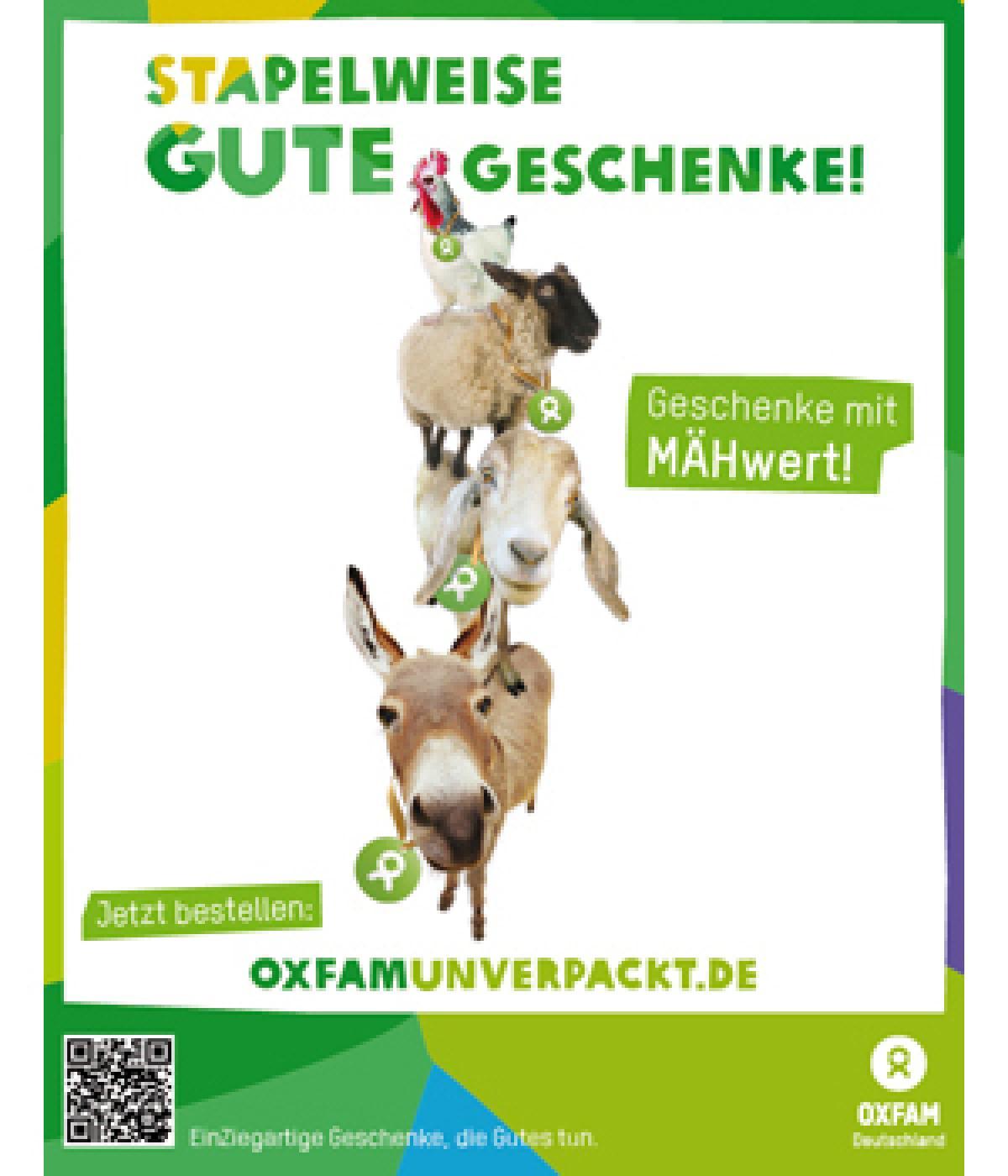 Freianzeige Oxfam Unverpackt Stapelweise Gute Geschenke