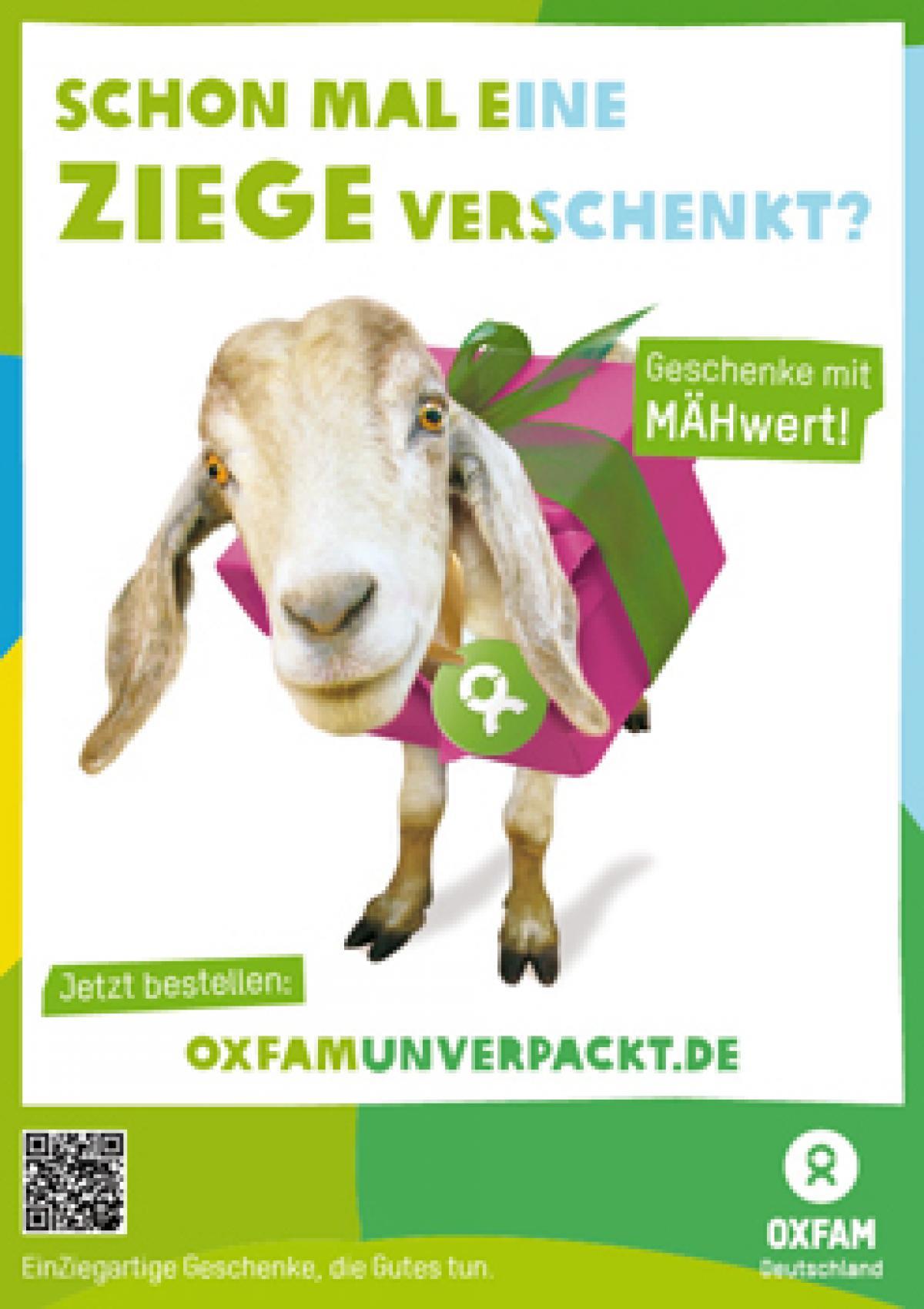 Oxfam Unverpackt Freianzeige Motiv Ziege