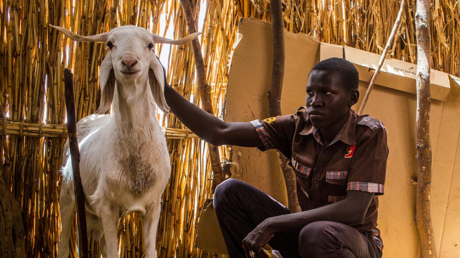 Kassouma Ouagada mit einer Ziege im Flüchtlingscam Assaga