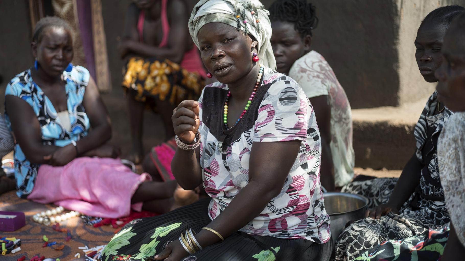Sarah aus Südsudan in einer Flüchtlingssiedlung in Uganda
