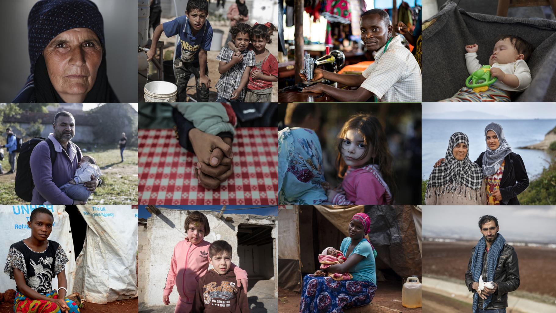 Collage aus Fotos von Flüchtlinge in verschiedenen Ländern
