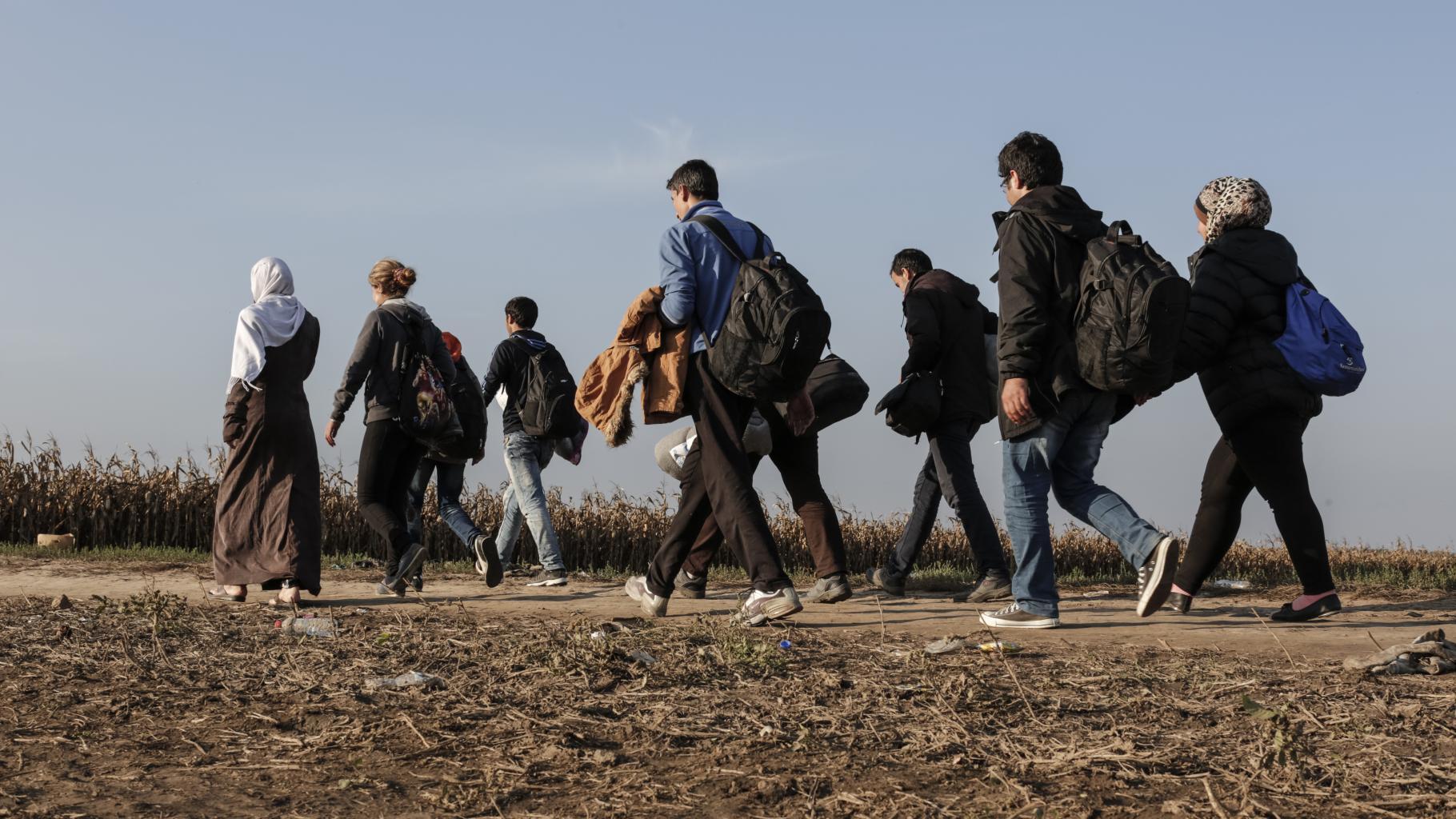 Eine Gruppe von Menschen geht auf einem Weg zwischen Feldern