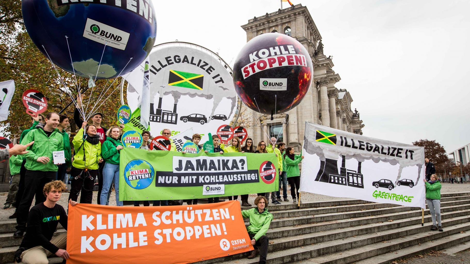 Aktion vor den Sondierungsgesprächen über eine mögliche Jamaika-Koalition