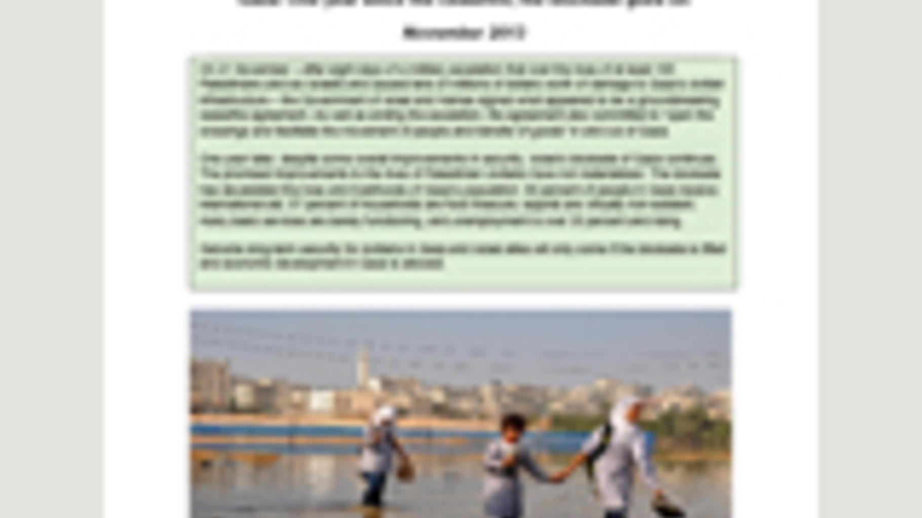 "Oxfam-Bericht ""Gaza: One year since the ceasefire, the blockade goes on"