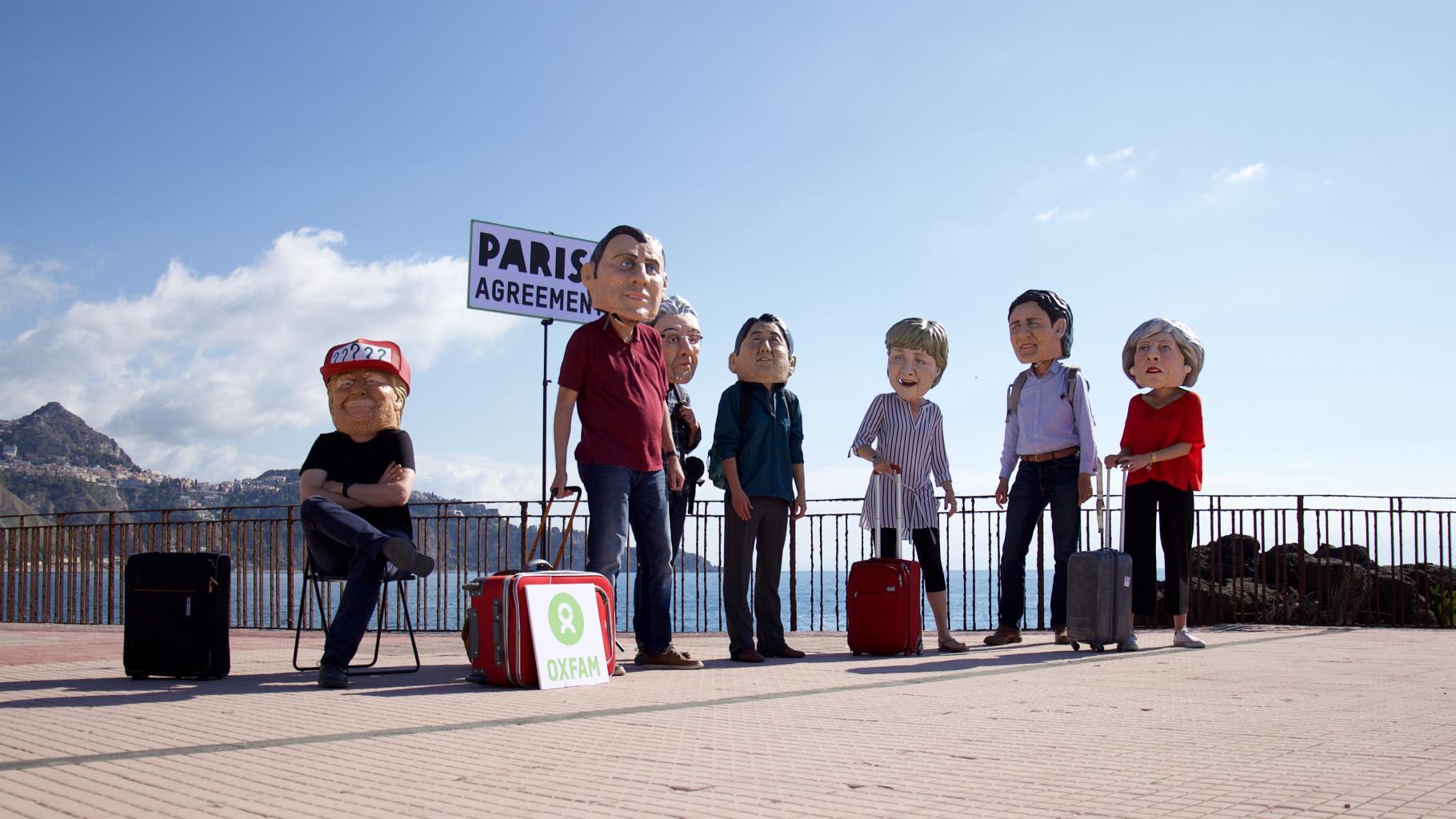 Oxfam-Aktion auf dem G7 Gipfel in Taormina