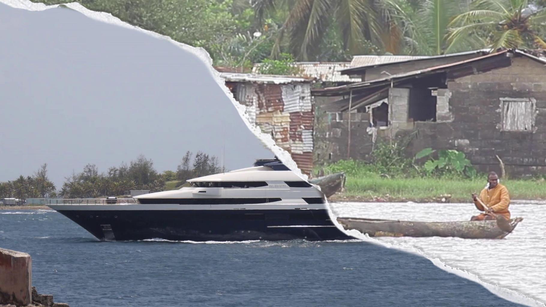 Ein diagonal geteiltes Bild: Links eine Jacht, rechts ein Holz-Kanu