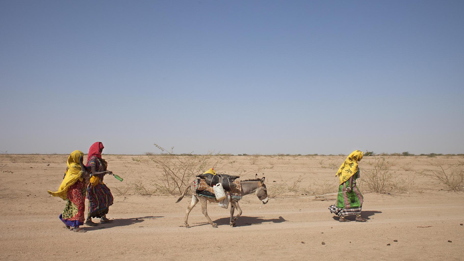 Drei Frauen ziehen mit einem Esel durch eine Landschaft, die von extremer Trockenheit geprägt ist.