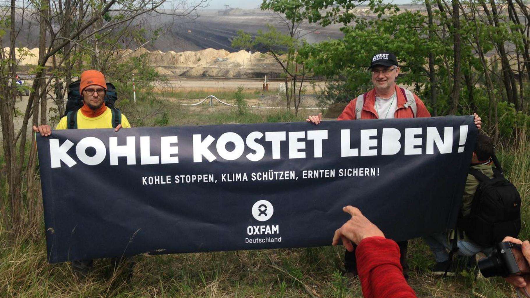 Oxfam auf der Anti-Kohle-Demo in der Lausitz im Mai 2016