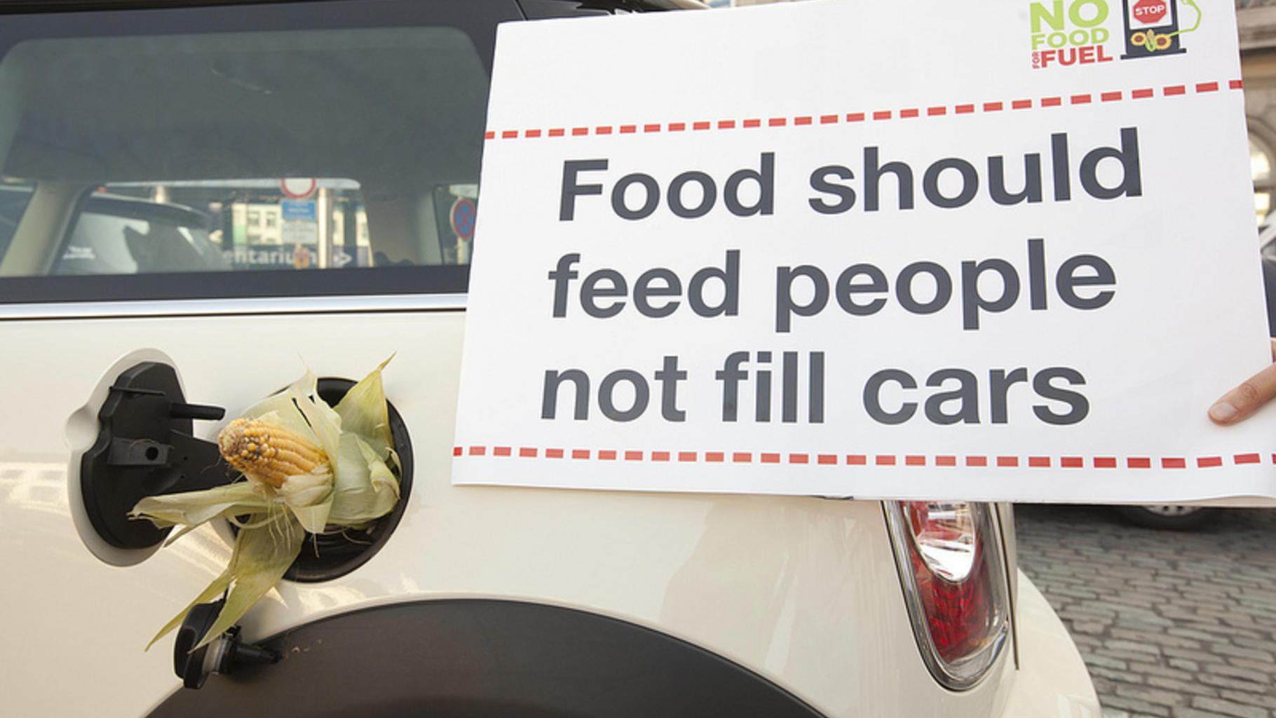 Auto mit Maiskolben in Tanköffnung