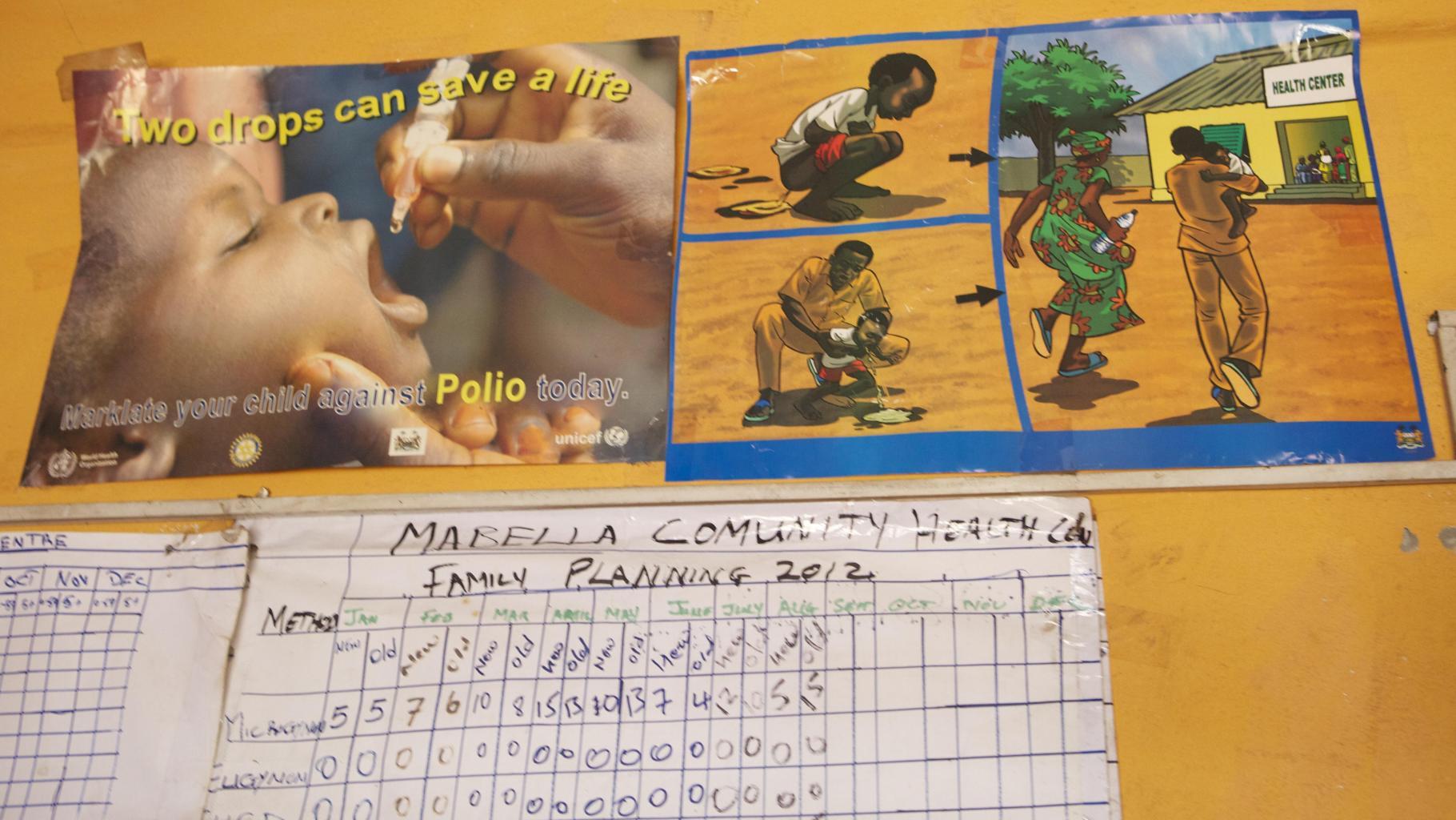 Plakate zur Aufklärung in Sachen Polio und Cholera