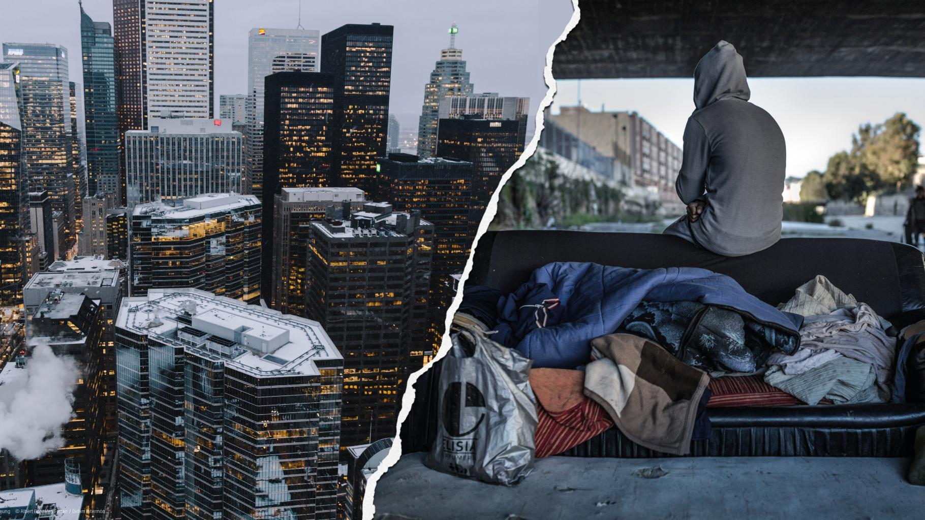 Wolkenkratzer eines Bankenviertels und Obdachlosigkeit unter einer Brücke